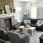 Gray, Brown, Teal / Turquoise Living Room