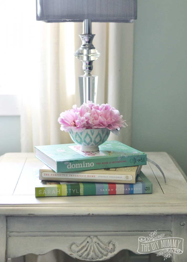 White, Gray, Mint & Coral Vintage Modern Sitting Room