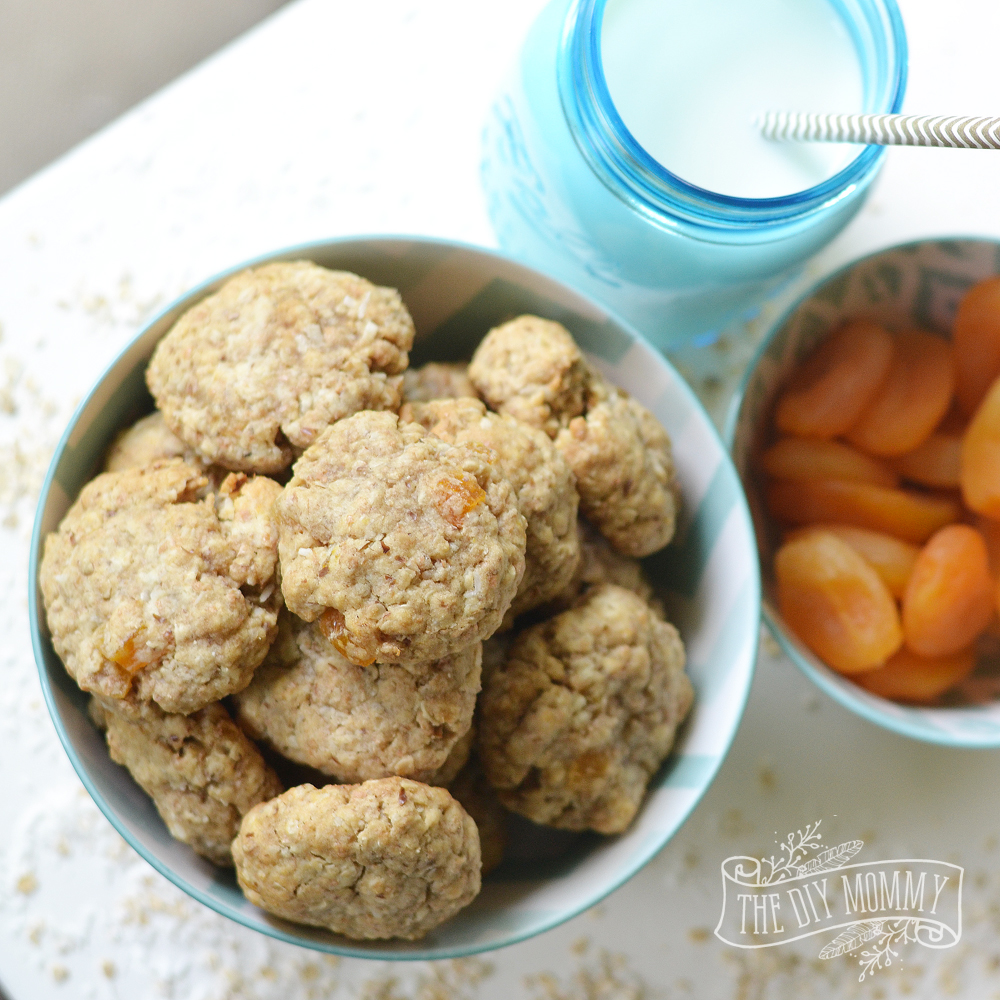 Aussie Bites knockoff recipe. This one's in cookie form - yum! Whole wheat flour, oats, coconut, dried apricots, flaxseed, butter, egg, vanilla, & brown sugar.