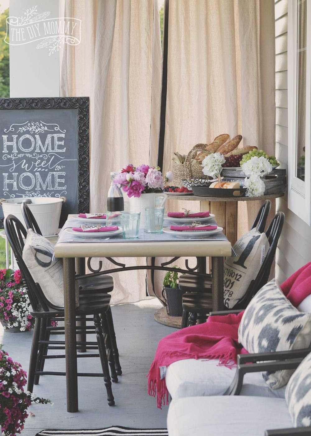 French market inspired porch warming party idea in black, white and pink