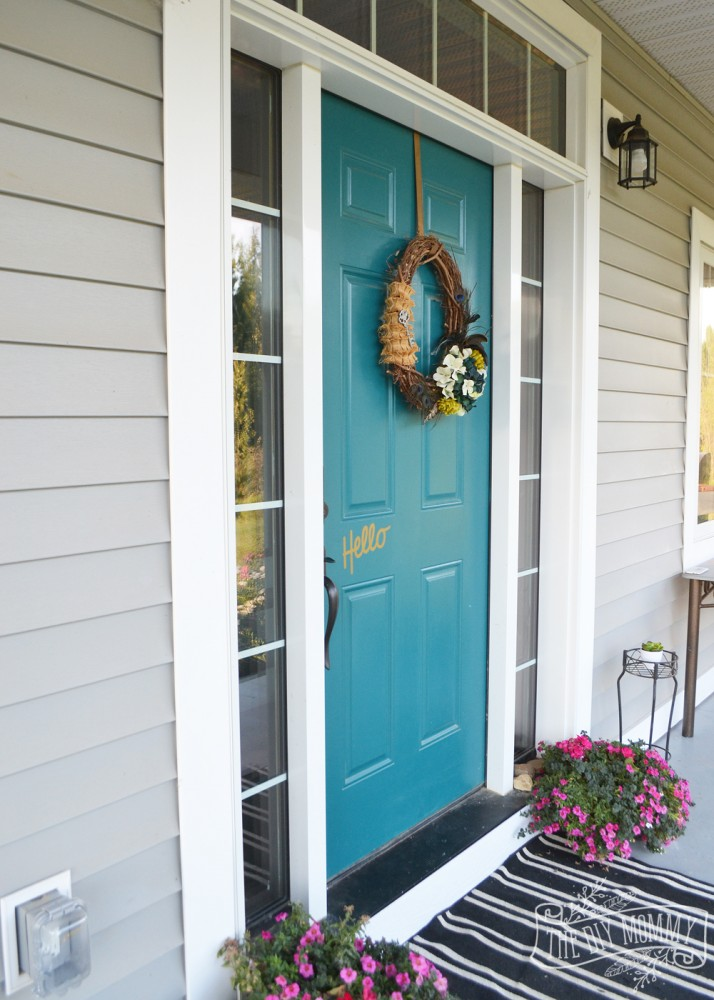 Dark teal front door