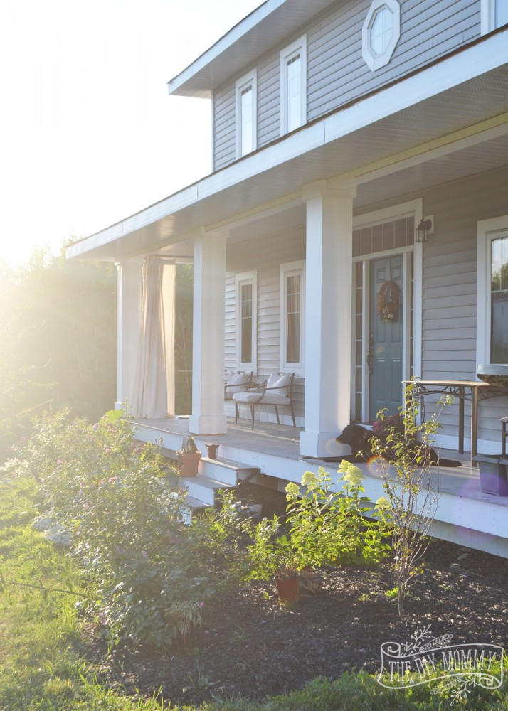 Craftsman Porch With Diy Columns Curtains