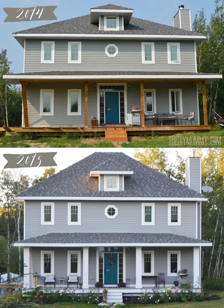 DIY Craftsman Foursquare Home with Grey Siding, Porch with DIY Columns and a Dark Teal Door