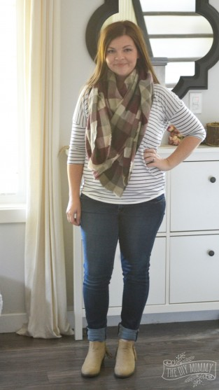Petite Curvy Mom Style: Blanket scarf, striped tee, jeans, tan booties.