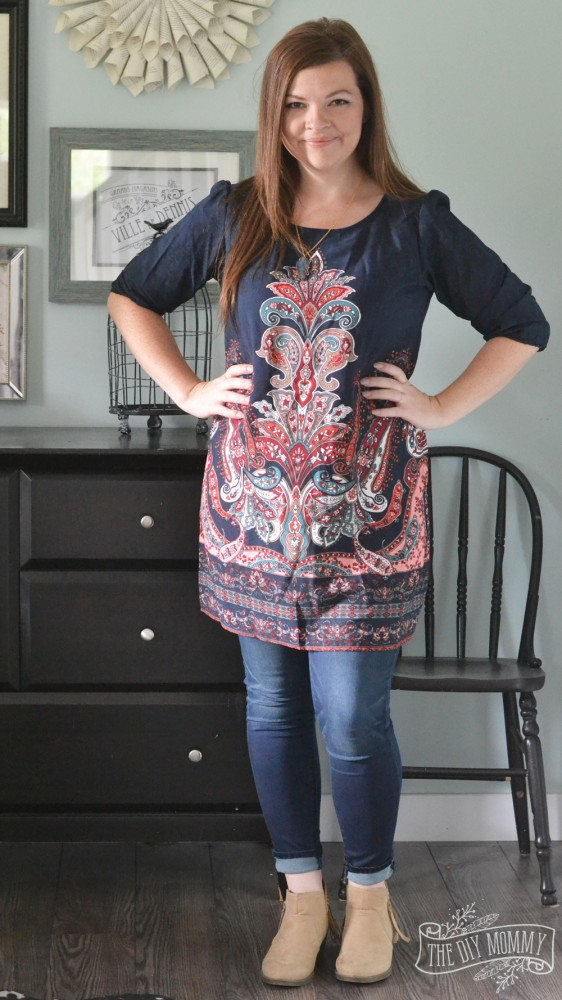 Boho tunic, dark skinny jeans, fringed booties