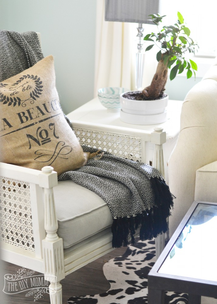 Cane chair, burlap pillow, black and white throw