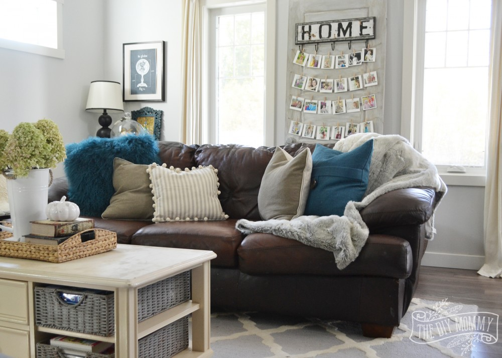 brown cream and teal living room | My Web Value