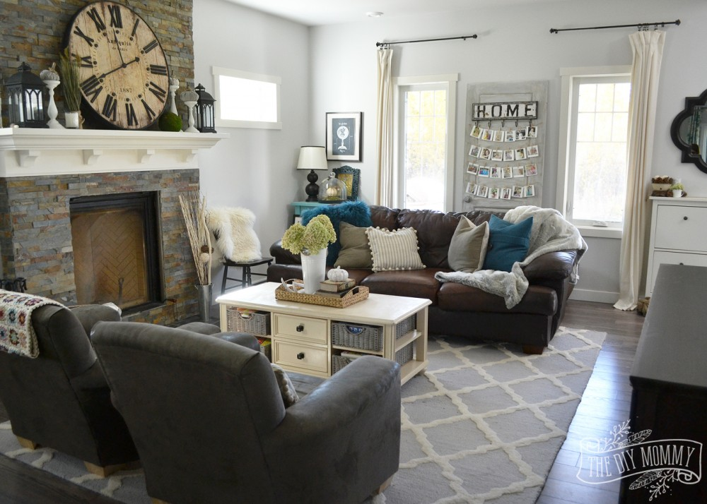 Fall 2015 home tour simple woodland inspired country for Brown green and cream living room ideas