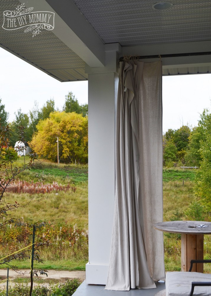 Fall porch with dropcloth curtains