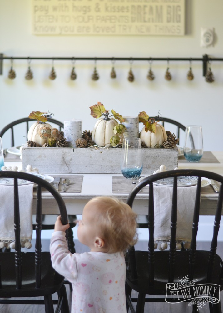 Rustic woodland table setting for Fall / Thanksgiving