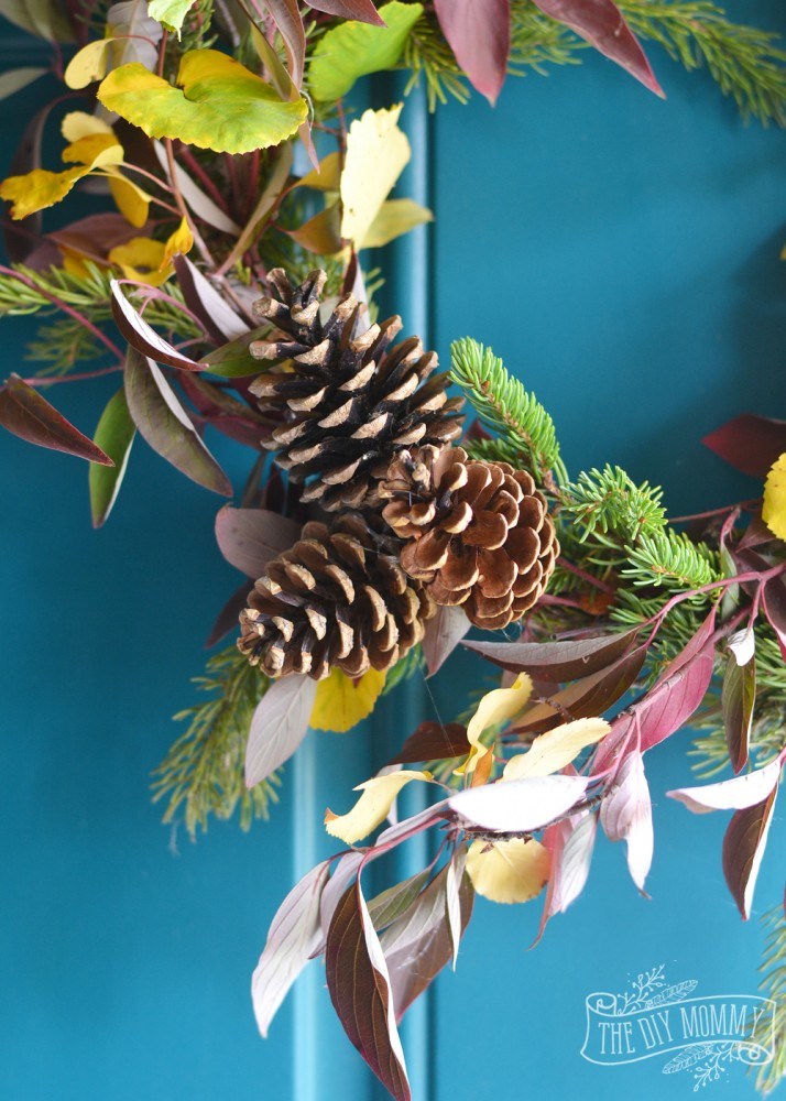 How to make a fresh DIY Fall wreath out of foraged branches, leaves and pinecones