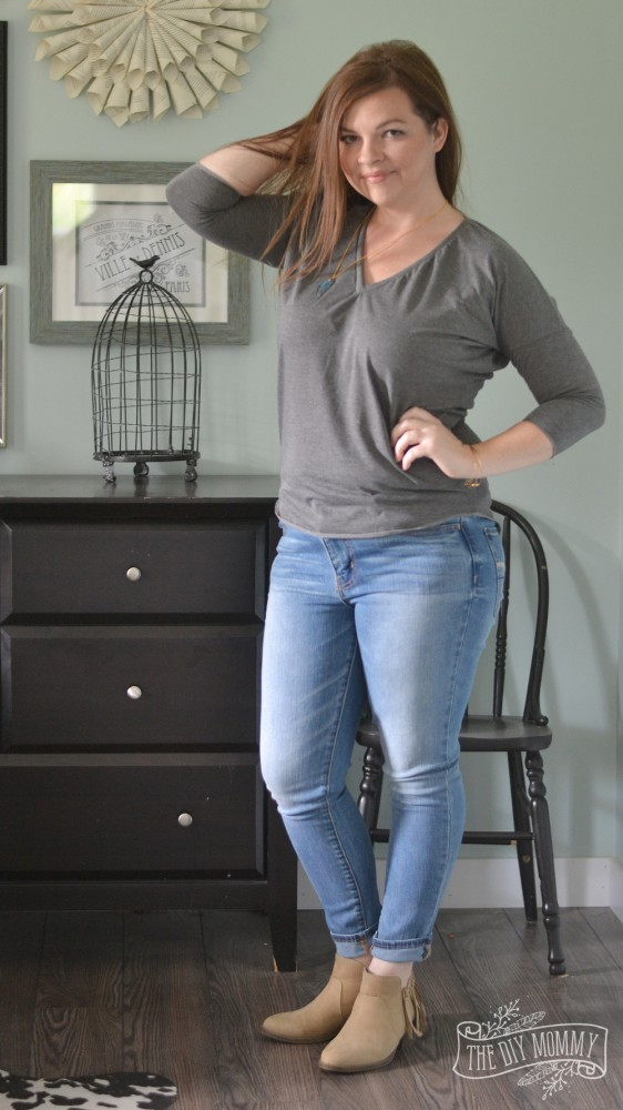 Skinny Jeans, Gray DIY Tee, Tan Booties