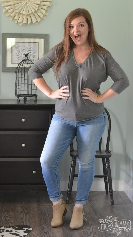 Skinny Jeans, Gray DIY Tee, Tan Booties