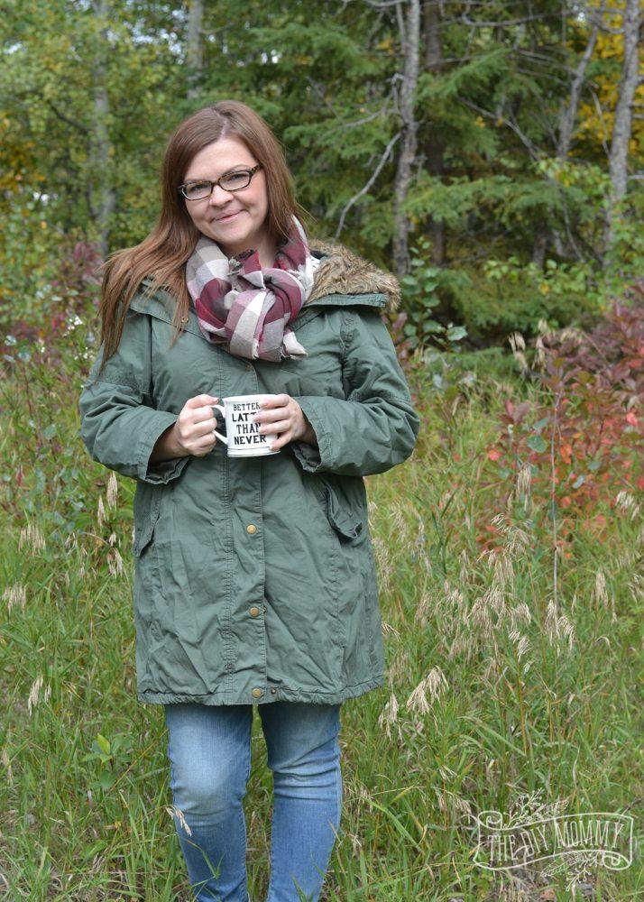Army Green Parka, DIY Blanket Scarf & Skinny Jeans