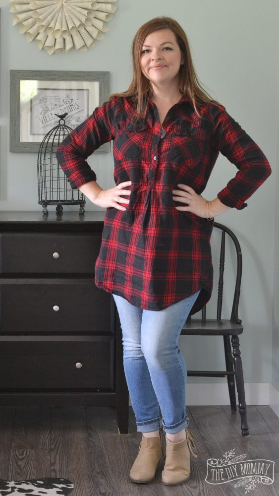 Skinny Jeans, Plaid Tunic, Tan Booties