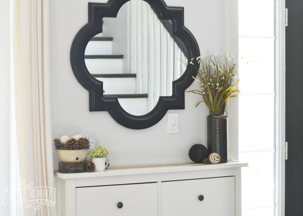 Simple Fall decor on Ikea shoe cabinet in entry