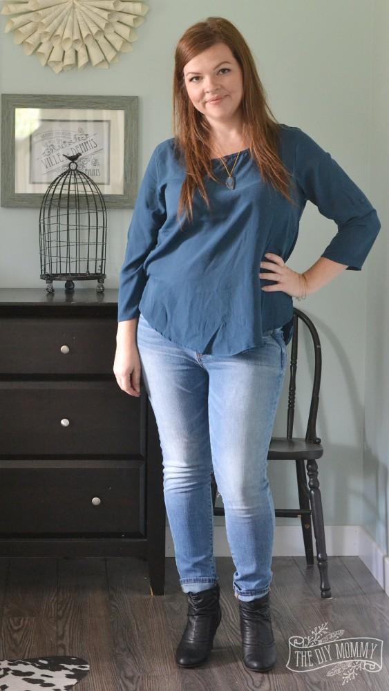 Skinny Jeans, Teal Blouse, Black Booties