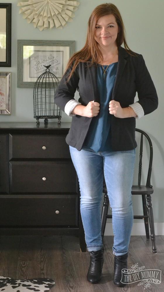 Skinny Jeans, Teal Blouse, Black Blazer, Black Booties