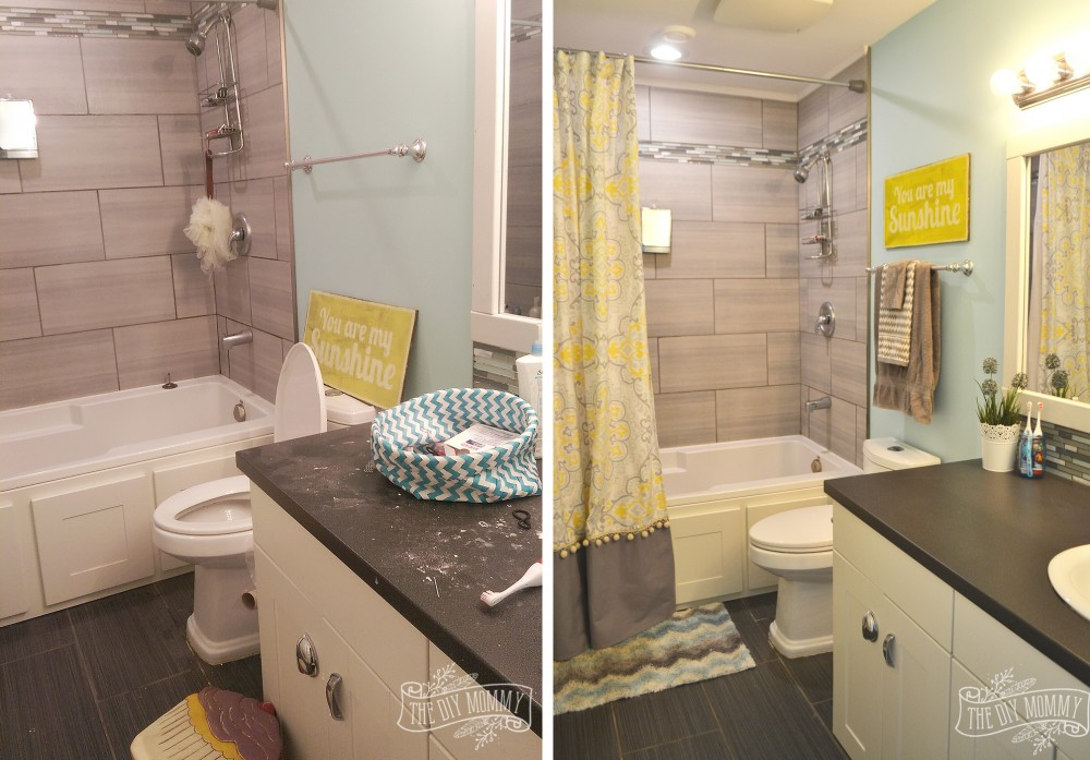 Yellow, Gray And Aqua Kids Bathroom Design With Great DIY Ideas!