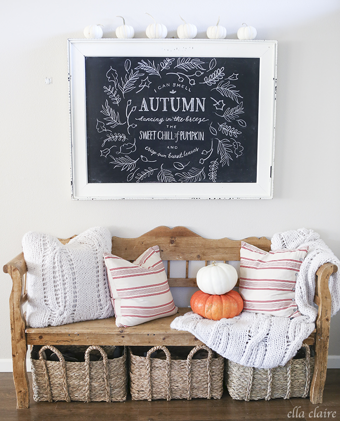 Beautiful Fall chalkboard idea