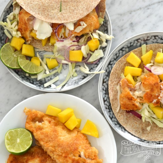 Battered Fish Tacos with Mango Lime Salsa - family friendly and yummy! #WWFSchoolOfFish