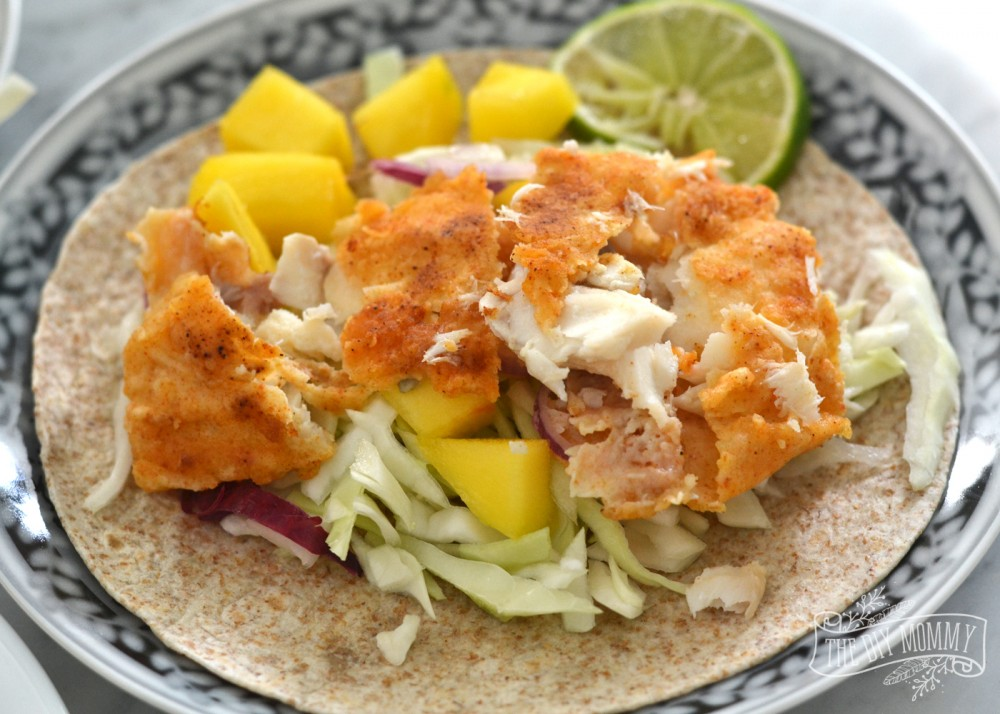 Make battered fish tacos with mango lime salsa the diy mommy for Fish tacos with fish sticks