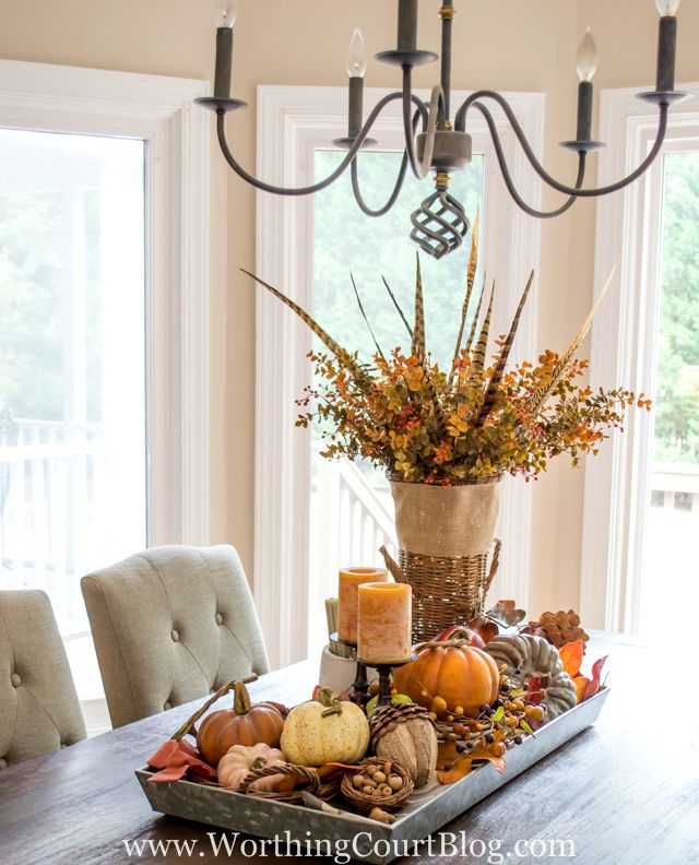 Kitchen Decor For Fall: Farmhouse Fall Table Centerpiece + The Creative Corner #68: DIY, Craft & Home Decor Link Party