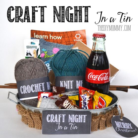 A Gift In A Tin: Craft Night in a Tin. Ideas on what to include + free printables! A great Christmas or anytime gift. www.thediymommy.com