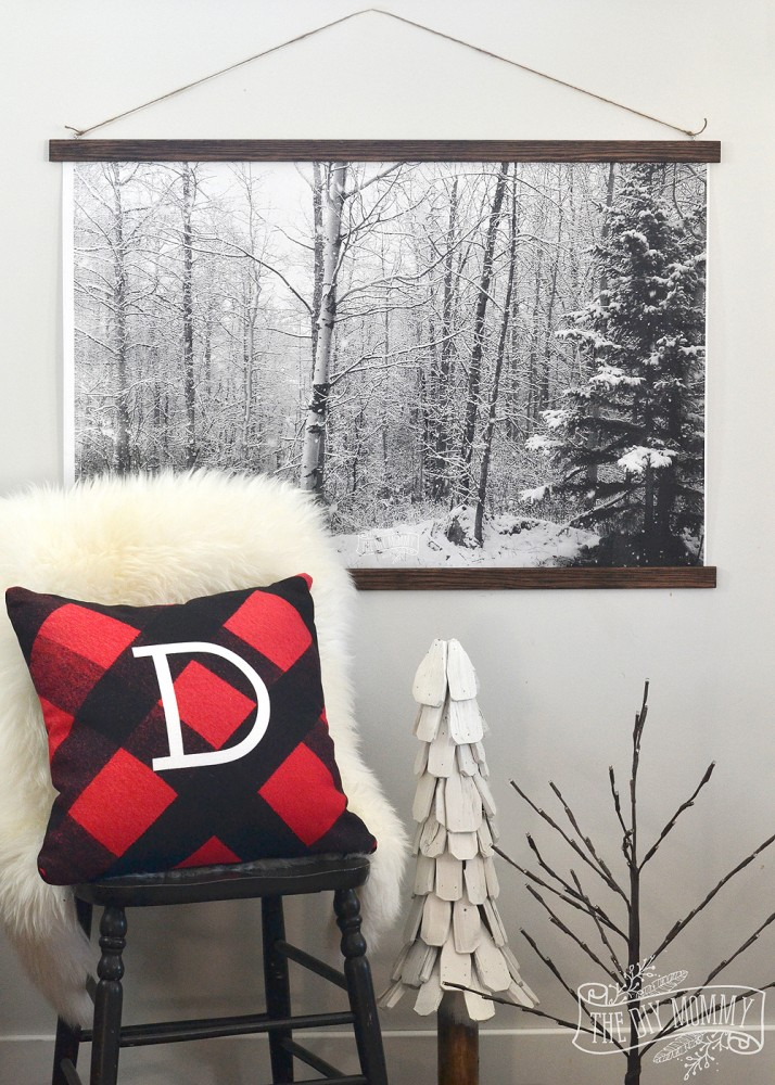 How to make a beautiful winter forest scene wall hanging - free photo download included!
