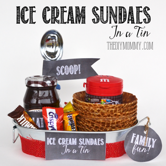 A Gift In A Tin: Ice Cream Sundaes in a Tin. Ideas on what to include + free printables! A great Christmas or anytime gift. www.thediymommy.com