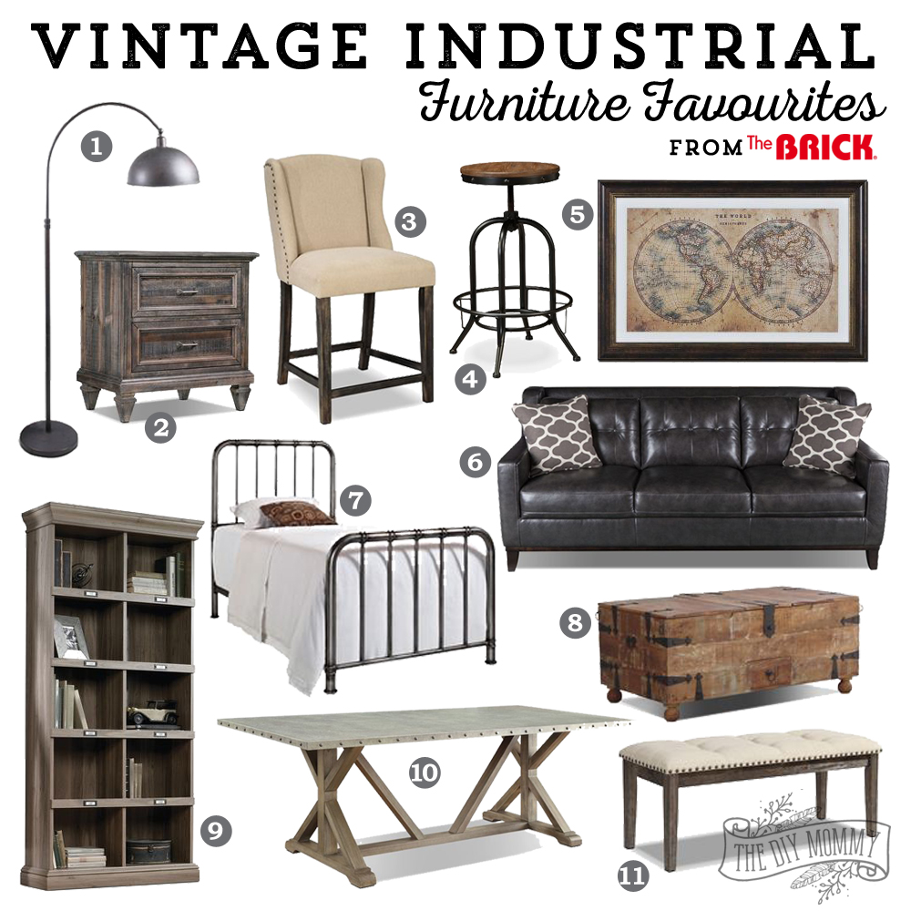 vintage industrial furniture favourites some exciting news the diy mommy. Black Bedroom Furniture Sets. Home Design Ideas