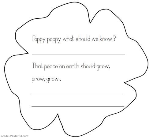 Poppy poem printable booklet by Grade ONEderful