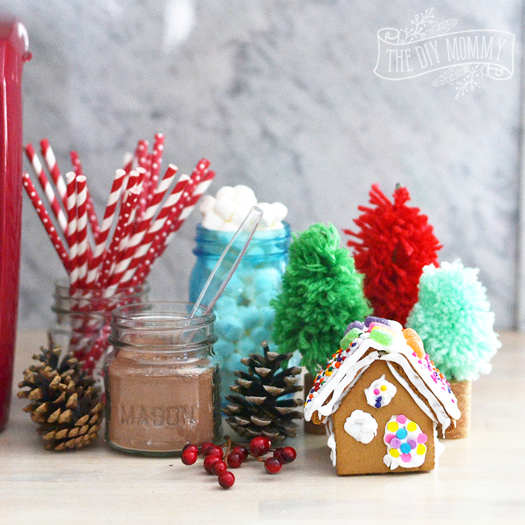 An adorable Christmas craft and hot chocolate station for the kids!