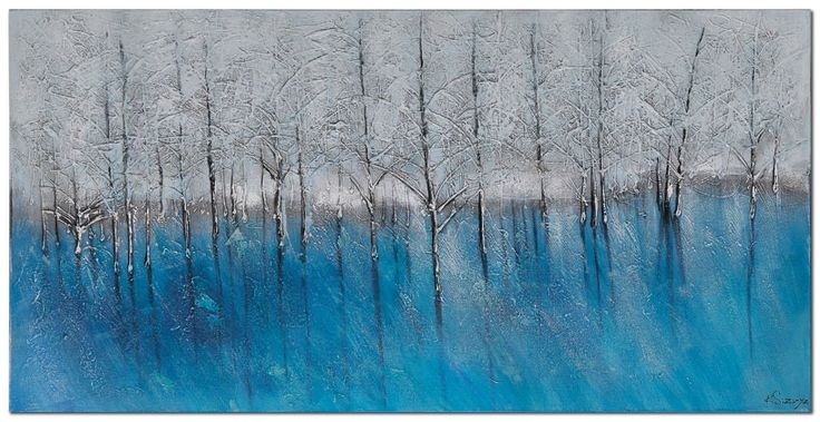 Beautiful blue and white forest art