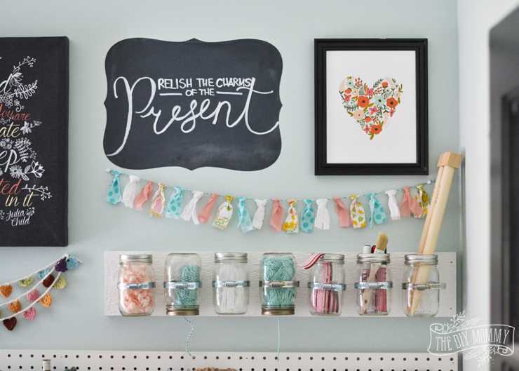 Make hanging mason jar craft storage 12monthsofdiy the for Craft wall storage system