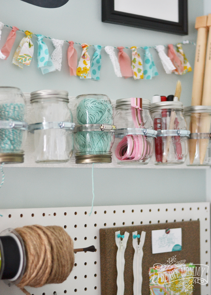 Make hanging mason jar craft storage 12monthsofdiy the for Craft supplies organization ideas