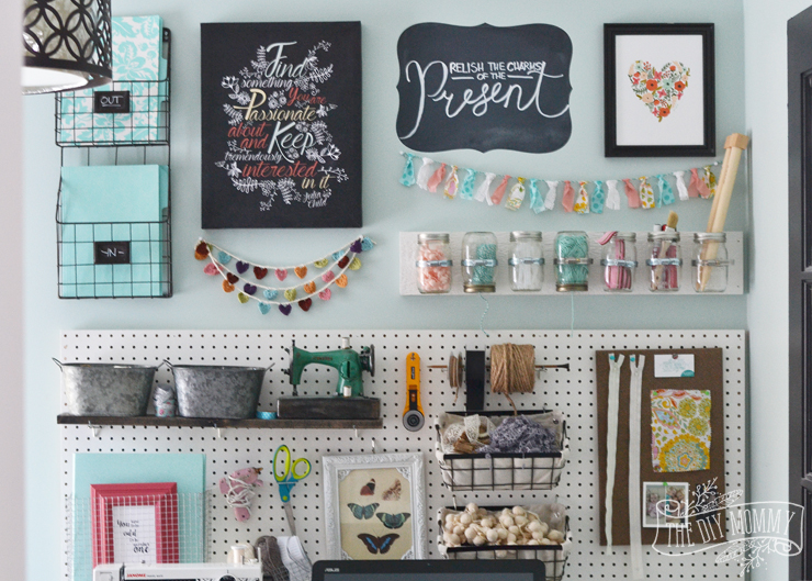 A craft room office pegboard gallery wall with video tour for Art and craft for wall decoration
