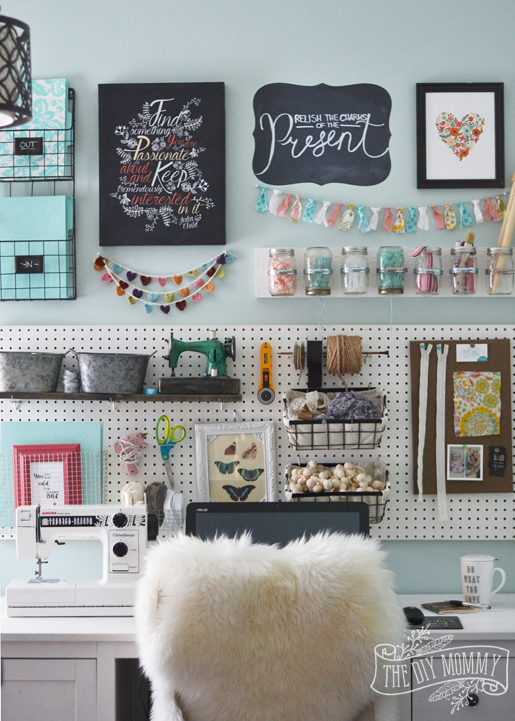 Wall Art For Craft Room : A craft room office pegboard gallery wall with tour