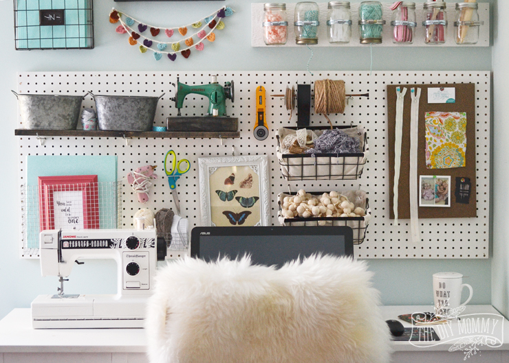 Craft Room Organizer Systems: A Craft Room Office Pegboard Gallery Wall (With Video Tour