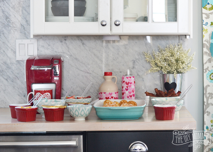 Valentine's Day Waffle Bar - it's such a sweet idea! Make heart shaped waffles and serve with a variety of sweet and savory toppings.