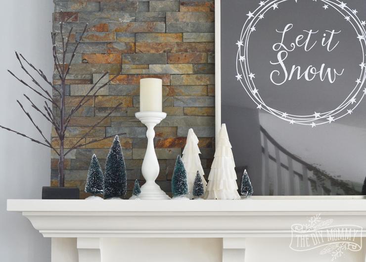 Winter mantel decor idea with bottle brush trees