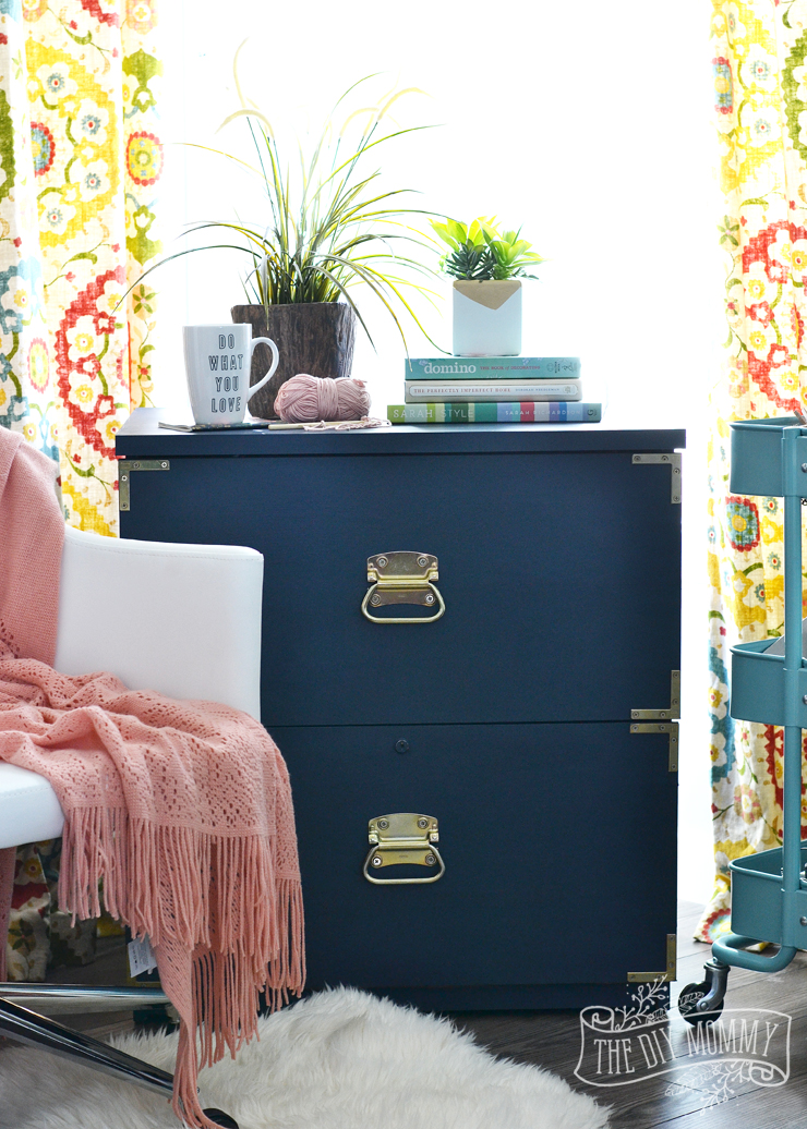 How to turn an old filing cabinet or an old dresser into a gorgeous campaign dresser inspired piece with Fat Paint chalk style paint (Amanda Forrest Collection Navy State of Mind)