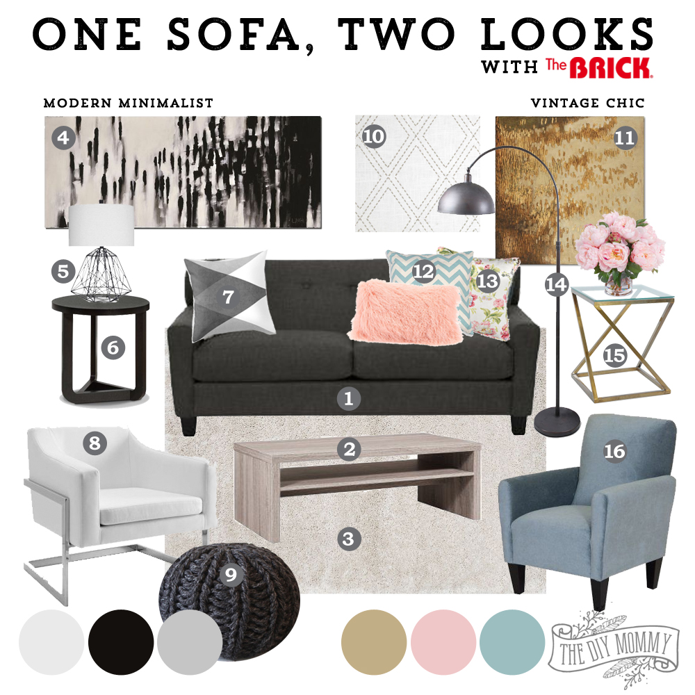 How to style a sofa two ways: modern minimalist or vintage chic