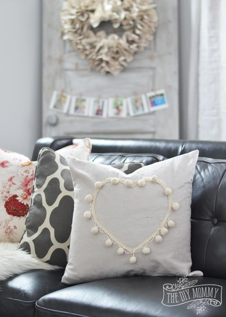 A Black Amp Blush Pink Living Room Diy Pom Pom Heart