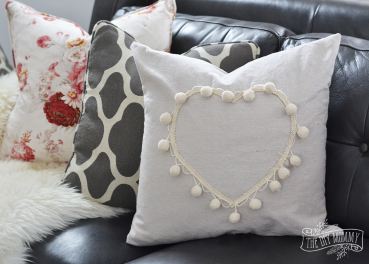 Pom pom trim and drop cloth heart pillow tutorial