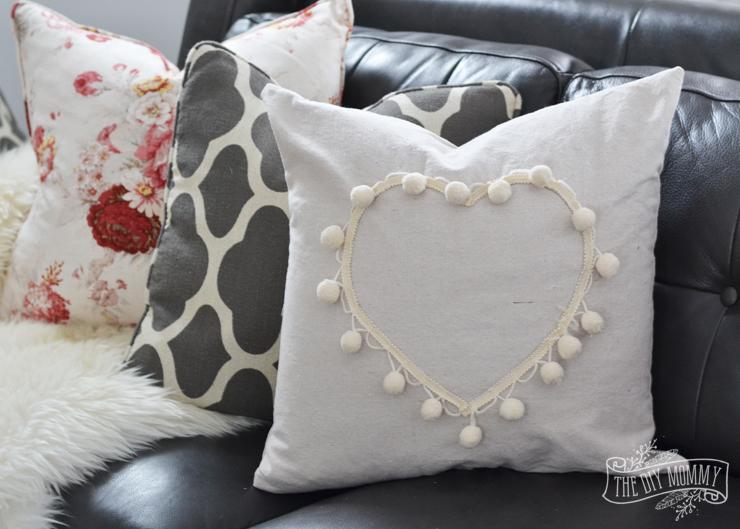Pom pom trim and drop cloth heart pillow tutorial