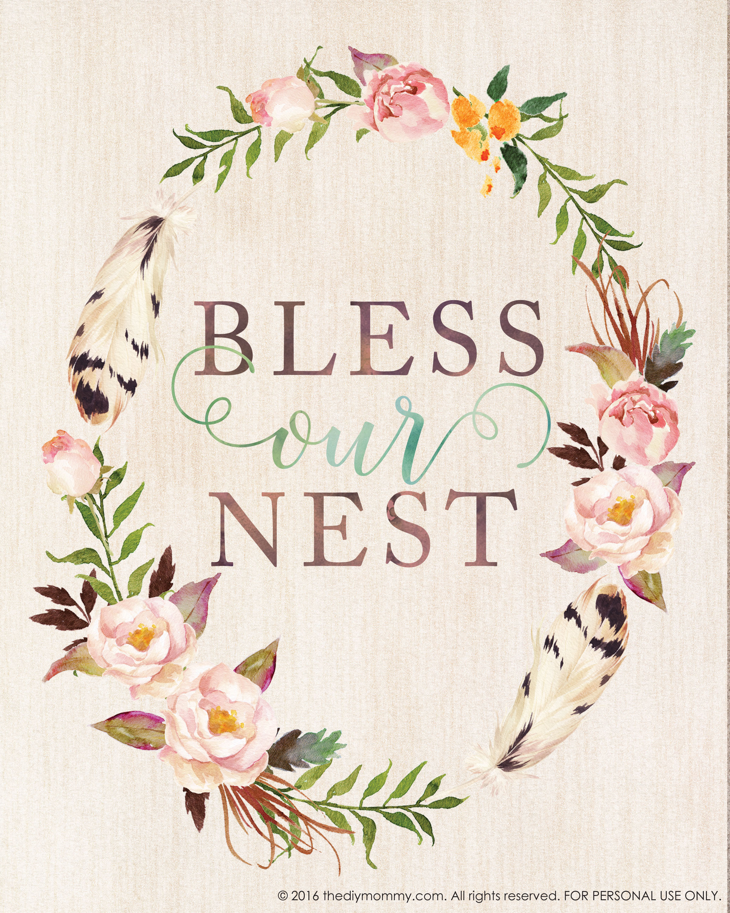 photograph regarding Printable Artwork titled Bless Our Nest Totally free Printable Watercolor Art for Spring