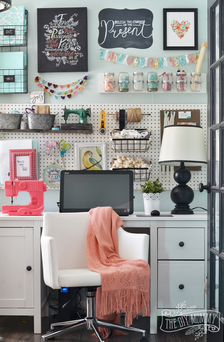 Home office colorful girl Glam Colorful Boho Craft Room Home Office With Tons Of Great Diy Decor And Organization Ideas The Diy Mommy My Colourful Boho Craft Room Office Tour video The Diy Mommy