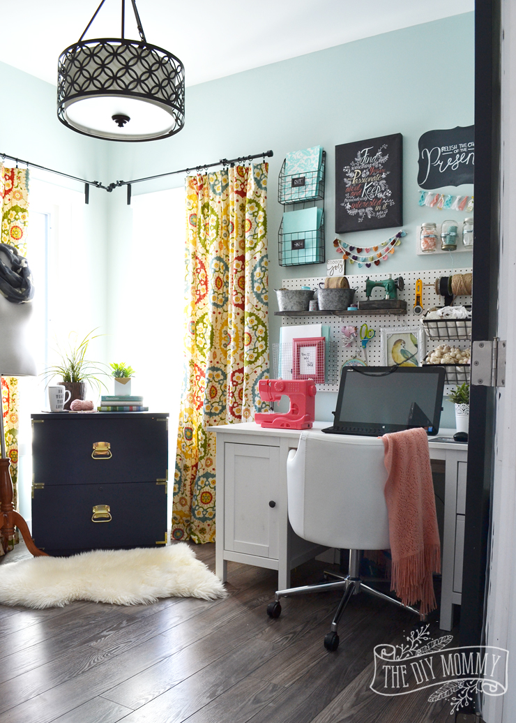 My colourful boho craft room office tour video the diy for Home office room ideas