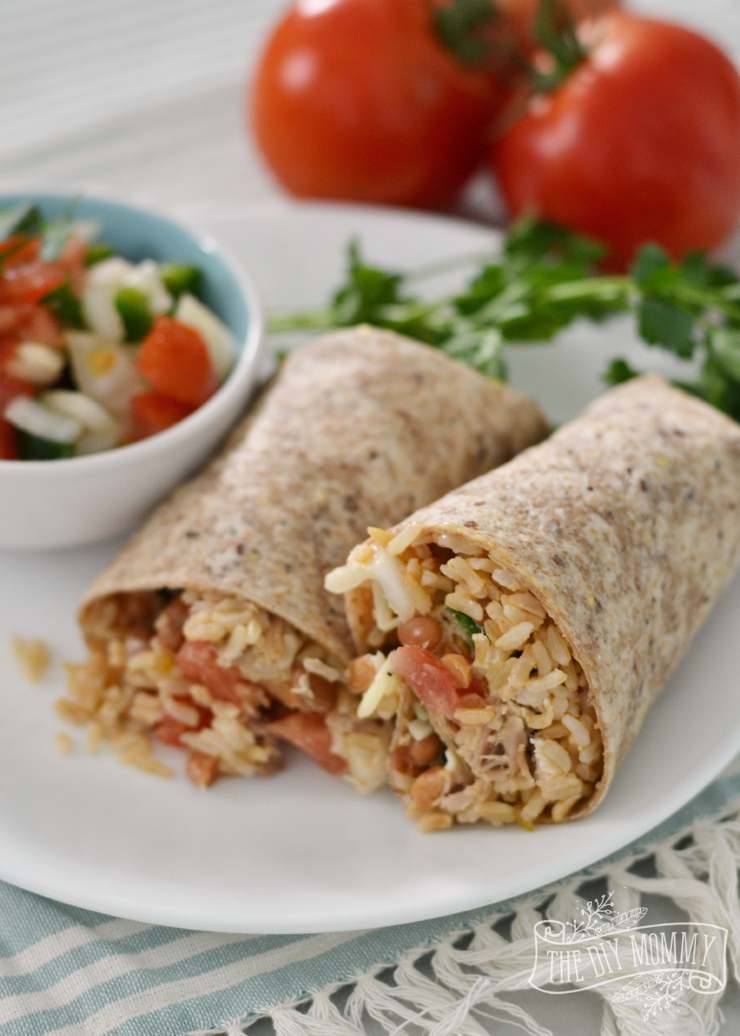 Healthy, Whole Grain Chicken Burritos- so fast, tasty and easy!
